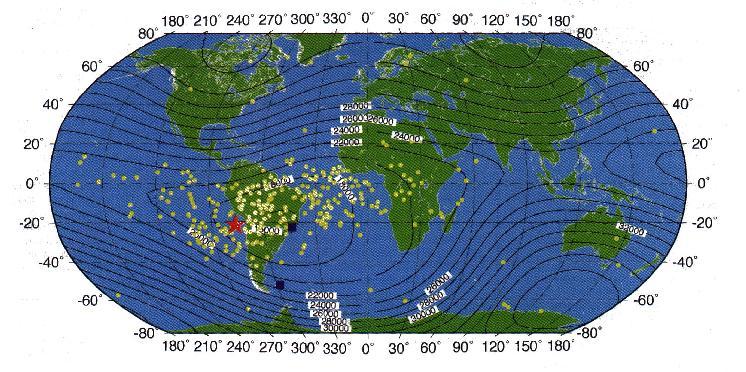 Electrical upsets of TOPEX/Poseidon satellite, clustered around SAA